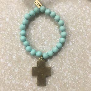 YSL turquoise beaded bracelet